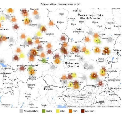 Belastungslandkarte_© Österreichischer Pollenwarndienst