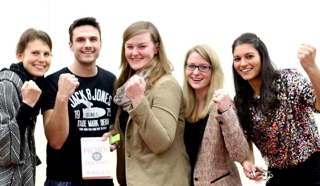Die GewinnerInnen des Master Science Slam 2015 (v.l.) Kathrina Gradl, Harald Stressler, Maria Reiter, Barbara Pragler, Julia Ramsmaier