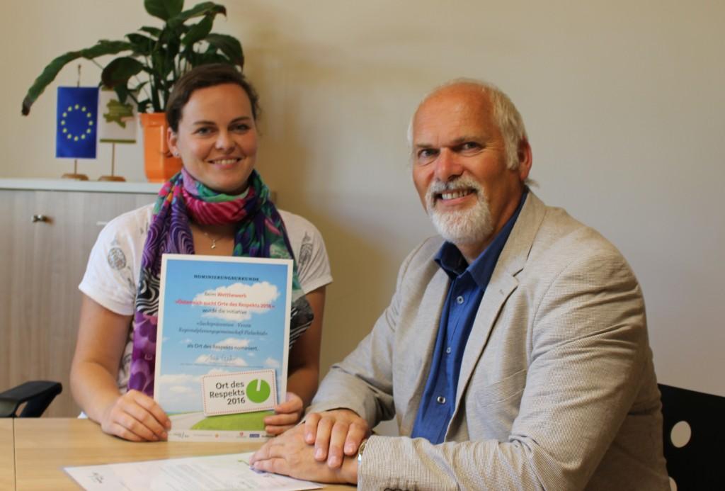 Petra Fischer, Kleinregionsmanagerin und Kurt Wittmann, Obmann der Regionalplanungsgemeinschaft Pielachtal freuen sich über die Nominierung. Foto: Melanie Scholze-Simmel