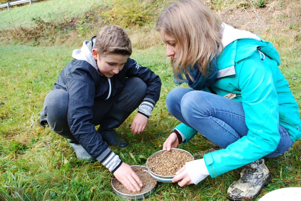 Ein Tag für die Flussperlmuschel - Judith Kloibhofer von der HLUW Yspertal mit einem Schüler der 2. Klasse der NMS Bad Zell bei einer praktischen Untersuchung an der Naarn Foto: HLUW Yspertal